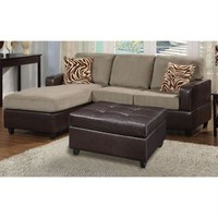 3 Piece Reversible Sectional Sofa With Ottoman In Pebble Color