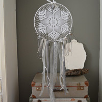 A vintage lace doily dream catcher in Black, Grey, SIlver and White shades --- A vintage elegant touch or an special present
