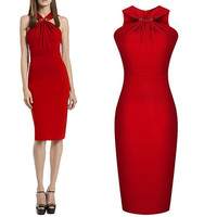 Womens Colorblock Office V-neck Wear to Work Business Bodycon Party Pencil Dress 7_S = 1916463940