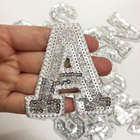 Silver Sequins Alphabet Letter Patch Stickers