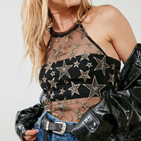 Ecote Kelsi Star Mesh Halter Top | Urban Outfitters