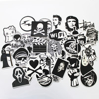 50 PCS Black and White Cool DIY Stickers For Skateboard Laptop Luggage Snowboard Fridge Phone Toy Styling Home Decor Stickers