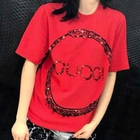 GUCCI Fashion Unisex Leisure Circle Ring Snake Letter Sequin Pure Color Pullover Top T-Shirt Red