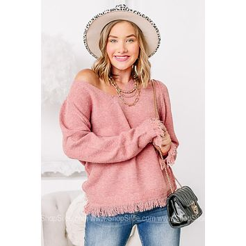 Get With It Fray Bottom Sweater   Rose