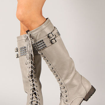 Liliana Astro-3 Studded Lace Up Military Knee High Boot
