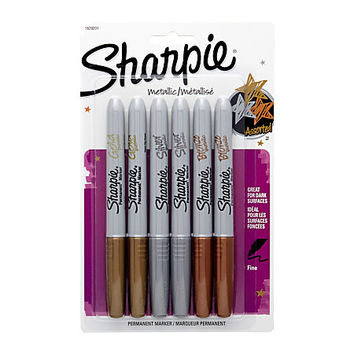 Sharpie® Metallic Markers, Bronze/Gold/Silver, Pack Of 6 Item # 793573