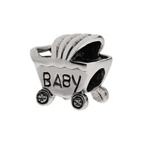 Individuality Beads Sterling Silver Baby Carriage Bead (Grey)