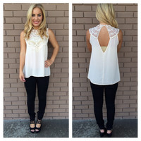 Cream Crochet Neck Sleeveless Blouse