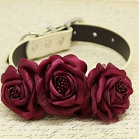 Burgundy Floral Dog Collar, Wedding Pet Accessory, Rose Flowers with Pearls , Wedding dog collar