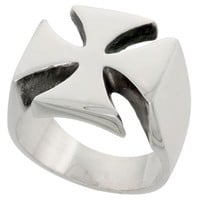 "Sterling Silver Heavy Men's Iron / Maltese Cross Ring, 5/8"" (16mm) wide, size 6.5"