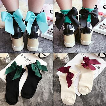 POENFLY 34 Colors Women's Cute Candy Color Bow Socks Female Fashion Casual Contrast Color Short Socks Lovely Bow Knot Soks