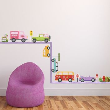Colorful Girls Adventure Cars with Purple Straight Road Wall Decals