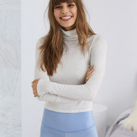 Aerie Plush Turtleneck Top , Heather Frost