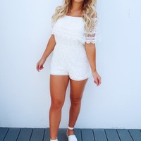 Swooning Over Lace Romper: White