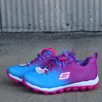 Girls' Skech-Air -Perfect Quest Athletic Sneakers {Blue/Purple} | 80223