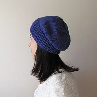 Royal Blue Slouchy Hat, Hand Knit Chunky Slouch Hat, Women Knit Hat, Wool Blend Hat, Seamless Winter Beanie, Gift for Her, Made to Order