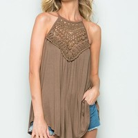 Crochet Lace Detail Tank Top with Back Keyhole - Warm Taupe ONLY 1 L LEFT