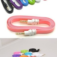 New Colorful 3.5mm Stereo Auxiliary Cable Male to Male Flat Audio Music Aux Cord = 5987653057