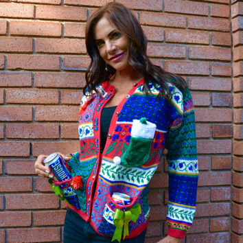 Beer holder Party Sweater, Ugly Christmas sweater, Small, beer, women, alcohol, party sweater, sexy, xmas sweater, jumper
