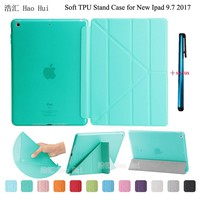 Smart Wake/Sleep Case For New Ipad 9.7 2017 A1822 Fashion Ultrathin + Soft TPU Translucent Back Cover Stand + One Stylus Gift