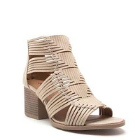 My Tribe Woven Ankle Bootie Heels In Stone