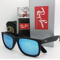 NEW Rayban sunglasses RB4165 622/55 Justin Matte Black Blue 4165 AUTHENTIC