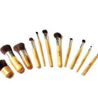 Eco-Friendly Natural Wood 11pcs Soft Cosmetic Blush Bamboo makeup Brush Set Kit