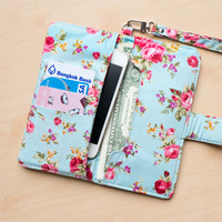 FLORAL IPHONE 6+ WALLET Blue Vintage Flower Card Holder Pouch Sleeve Bag Purse Samsung Galaxy S3 Galaxy S4 Note 2 Note 3 iPhone 4 4s 5 5s 5c