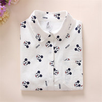 New Women Long Sleeve Blouse Fashion Turn-down Collar Button Shirt Tops Female Dog Bee Print Slim Shirts 72003 GS