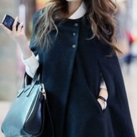 Black Batwing Cape Wool Poncho Jacket Winter Warm Cloak Coat