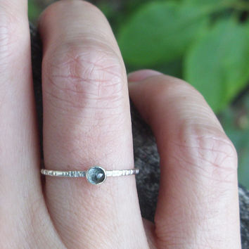 Tiny Rose Cut Blue Topaz Stacking Ring in Sterling Silver
