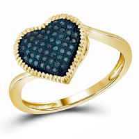 1-6CTW-Diamond HEART BLUE RING