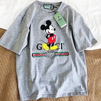 Gucci Women Tee Shirt Grey Mickey Mouse Print Top
