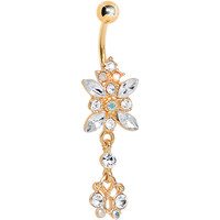 Gold Plated Clear Gem Dazzling Dangle Chandelier Belly Ring   Body Candy Body Jewelry