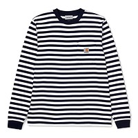 Scotty Stripe Long Sleeve Pocket Tee in Navy