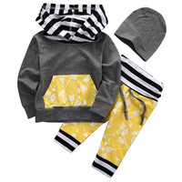 Autumn Winter Toddler Kids Baby Boy Clothes Hoodie Tops Sweatshirt+Pants Hat Outfits 3PCS Set Baby Boys Cotton Clothing