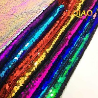 2018 Hot!!! Reversible Sequin Fabric Black-Silver Flip Up Mermaid Sequin Fabric for Pillow Cover/Wedding Decor/Evening Dresses
