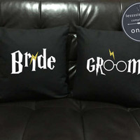 Bride Groom Throw Pillow cover Gold glitter , Harry Potter Couples, Wedding gifts for couple, Wedding gift, pillow cover set