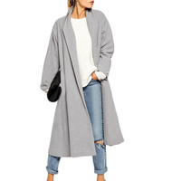 Gray Long-Sleeve Lapel Long Coat