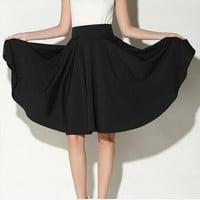 Midi Skirt 2016 Summer Women Clothing High Waist Pleated A Line Skater Vintage Casual Knee Length Saia Petticoat