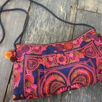 Embroidered Florals Boho Clutch Festival purse Crossbody bag Hippie Gypsy Tribal style colorful Retro Vegan gifts for lady Bohemian Chic