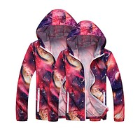 1pc 2017 Men and Women spring autumn hooded jacket printed windbreaker jackets lovers quick dry long sleeve coat Hot Sale