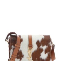 YSL Leather Monogram Tan Calf Hair Bag/Satchel