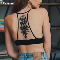 Vertvie New Back Embroidery Hollow Women's Sport Bra Sexy Mesh Athletic Vest Push Up Running Fitness Top Sports Bras Sportswear