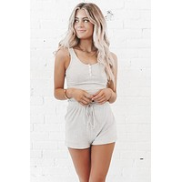 Call In Cozy Gray Tank And Shorts Set