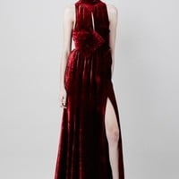 A.W.A.K.E. Origami Belted Velvet Dress - WOMEN - JUST IN - A.W.A.K.E. - OPENING CEREMONY