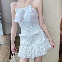 Sexy Mujers Skirts Sets Bow Tube Top Cropped Tops+Runway Harajuku Mini Skirt 2 Piece Sets Womens Outfits