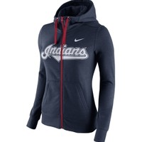Nike Women's Cleveland Indians Full-Zip Blended Navy Hoodie