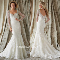 Discount Newest Design Appliques Lace with Beadings Long Sleeve Custom Made Vestidos Sexy Mermaid Wedding Dresses 2015 Luxury
