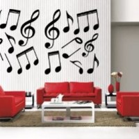 Newclew 42 music musical notes removable Vinyl Wall Quote Decal Home Décor Large